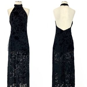 Flynn Skye- Tyra Black Velvet Burnout Maxi Dress
